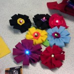 A bouquet of electro-flowers made at the workshop