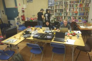 Group of people hacking in the TOG common room